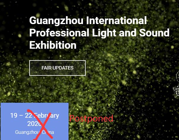 2020 Guangzhou Prolight Sound Exhibition Has Been Postponed